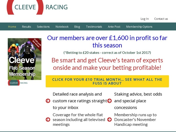 Cleeve Racing Mobile Login