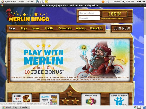 Merlin Bingo Using Paypal