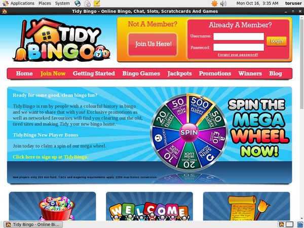 Welcome Tidy Bingo Bonus