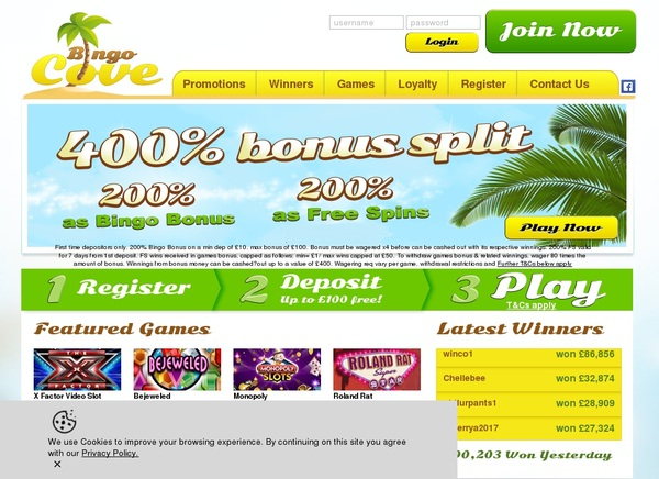 Bingocove Joining Offer