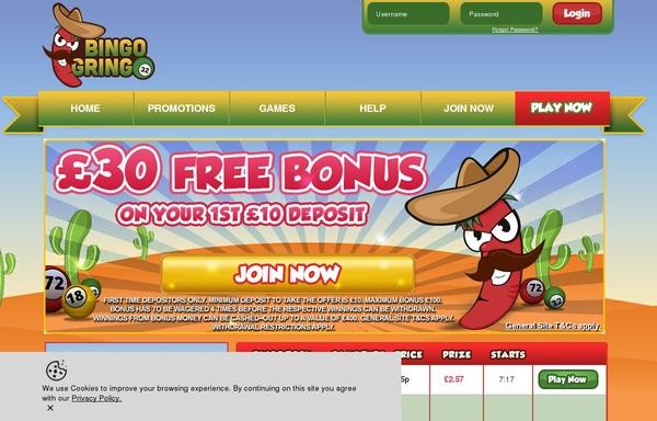 Bingo Gringo Get Free Bet