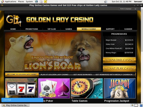 Golden Lady Casino Voucher Codes